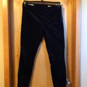 Black velvet pants zipper on the left